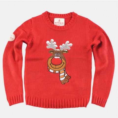 Kids Red Christmas Sweater Rudolph the Reindeer
