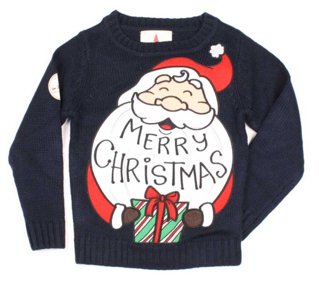 Kids Funny Christmas Sweater Santa Navy Blue