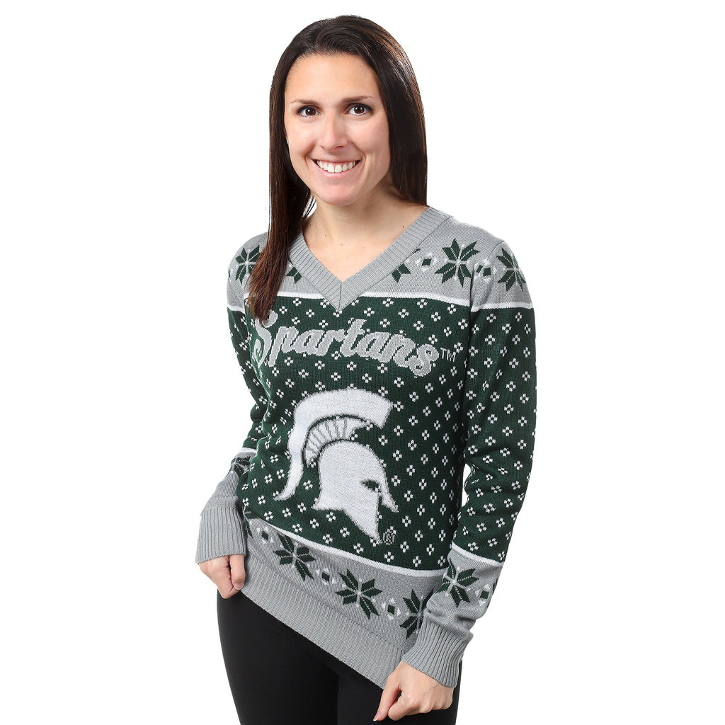 Michigan State Spartans Womens Christmas Sweater – Ugly Christmas ...