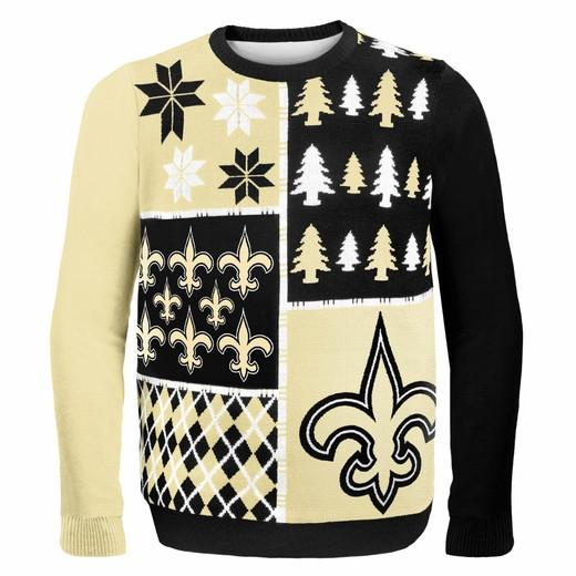 New Orleans Saints Ugly Christmas Sweater Busy Block Design in Black Gold and White