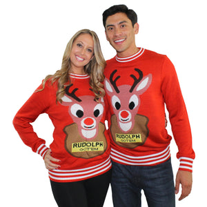 Red Christmas Sweater with Mounted Rudolph Bad Sweater