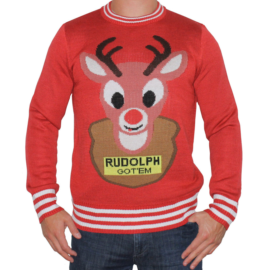 Red Christmas Sweater Reindeer Mounted Rudolph Funny Tacky Ugly Jumpers