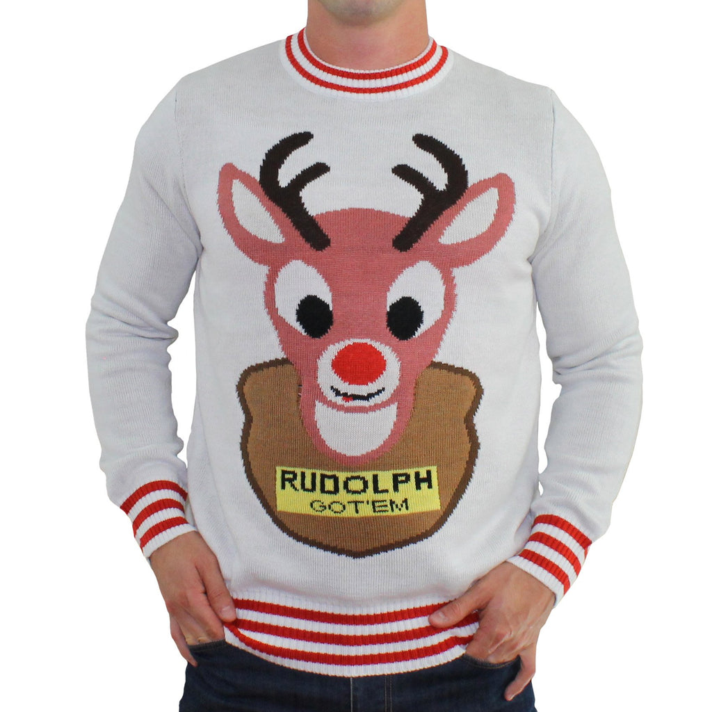 Ugly Christmas Sweaters featuring Reindeer Rudolph Funny Tacky Jumpers