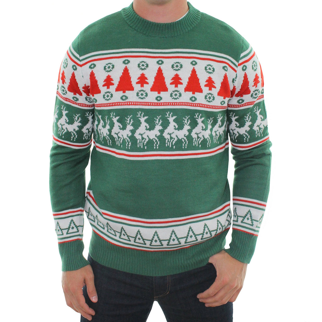 Ugly Reindeer Conga Line Sweaters Green Tacky Jumpers