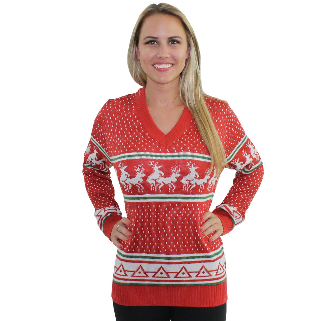 Christmas Jumper Party: Reindeer Conga Line V-Neck Ugly Christmas Sweater Jumpers