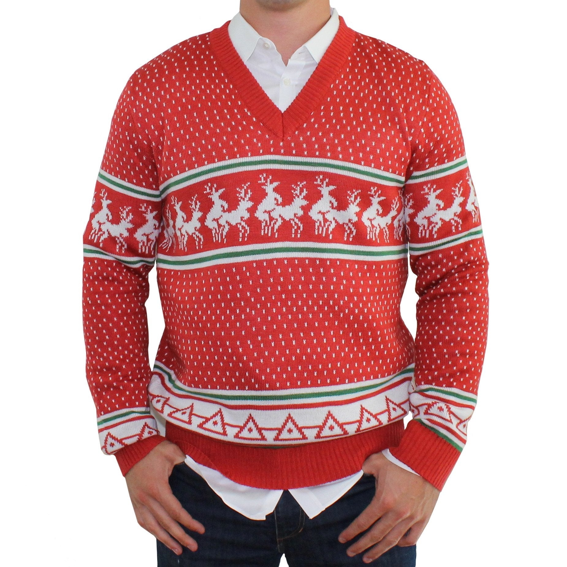 Reindeer Conga Line V-Neck Ugly Christmas Sweater Jumpers