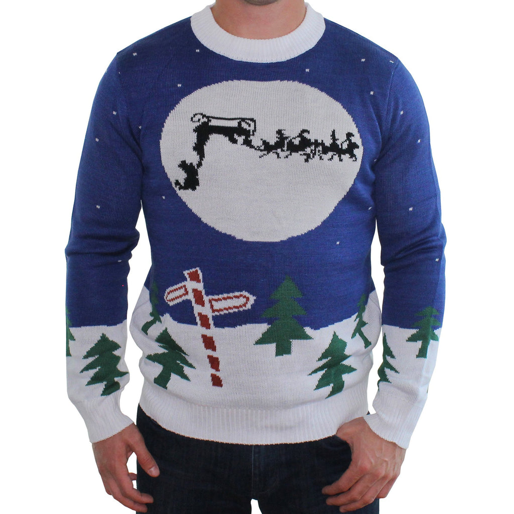 Tacky Blue Sweater Runaway Sleigh Santa