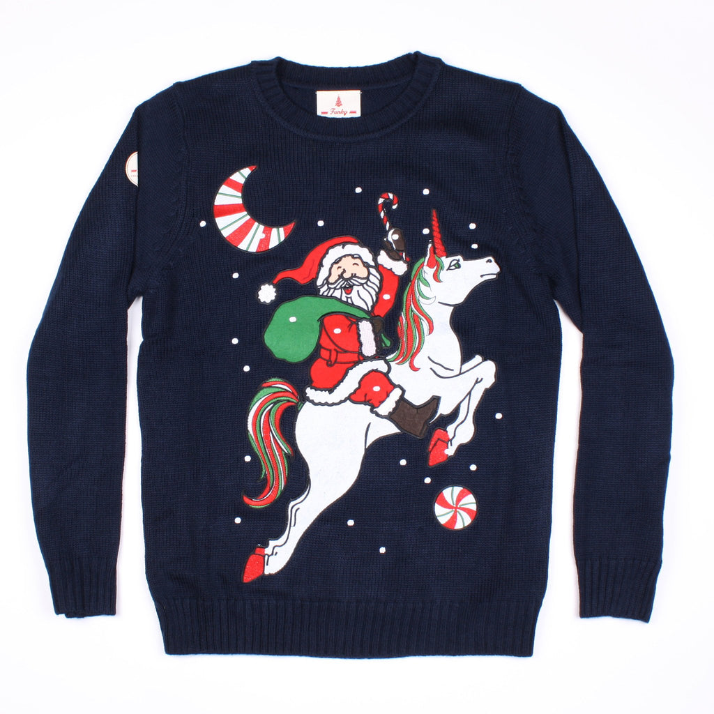 Funny Christmas Sweater.Unicorn Santa Funny Christmas Sweater