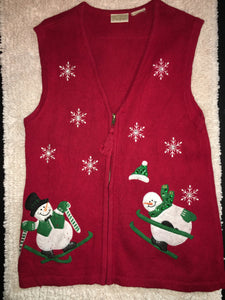 Ugly Christmas Sweater Vest Red with Snowmen Skiiing