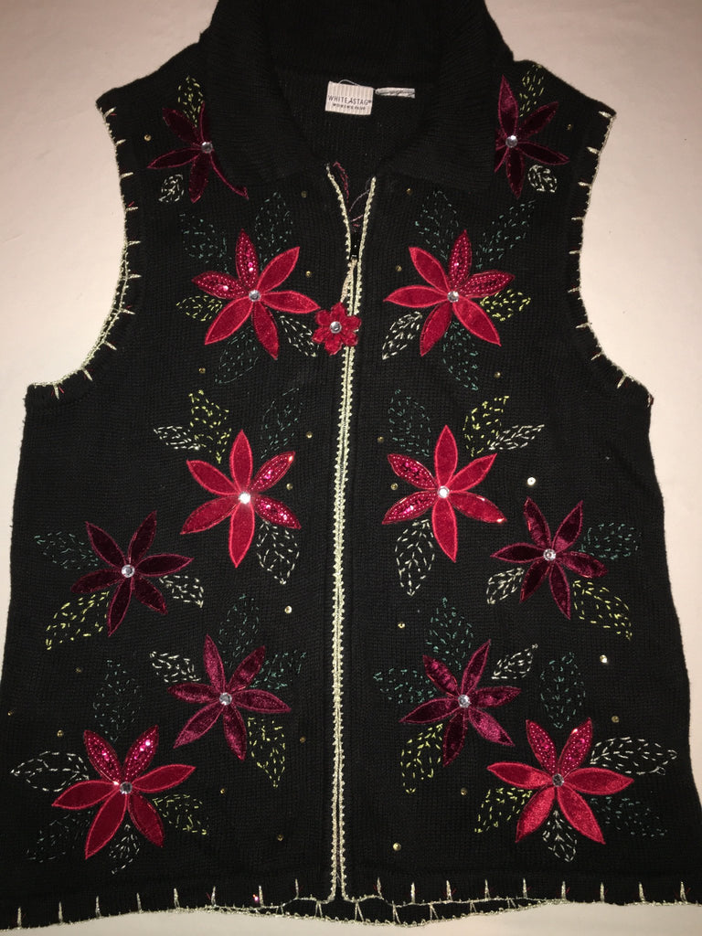 Get To The Poinsettia Ugly Xmas Vest 9021