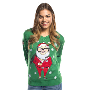 Funny Hipster Christmas Sweater Green with Very Cool Santa