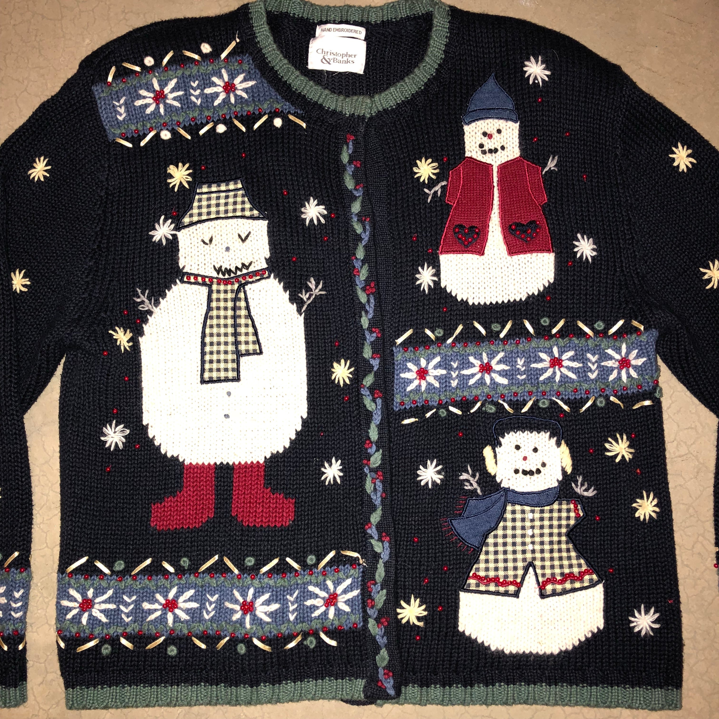 Three Creepy Men Out Front Vintage Sweater