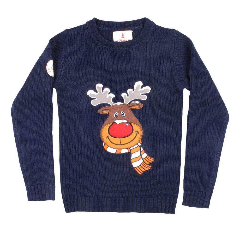 Kids Red Christmas Sweater Rudolph the Reindeer – Ugly Christmas ...