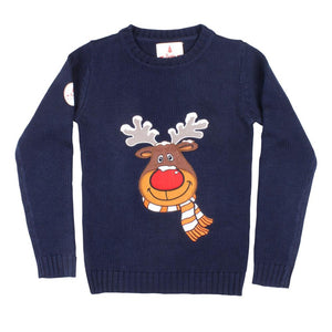 Kids Funny Christmas Sweater Navy Blue Rudolph