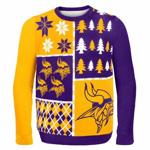 Minnesota Vikings Ugly Christmas Sweater Purple Gold Vikings logo with Christmas trees and snowflakes