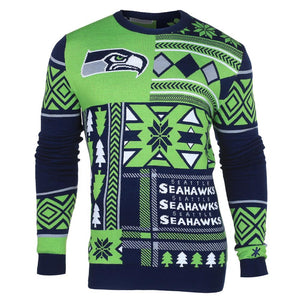 Seattle Seahawks Tacky Ugly Chirstmas Holiday Sweater Jumper