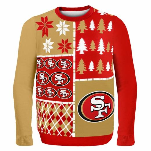 San Francisco 49ers Ugly Christmas Sweater in red gold and white, busy block style by Forever Collectibles for Team Ugly