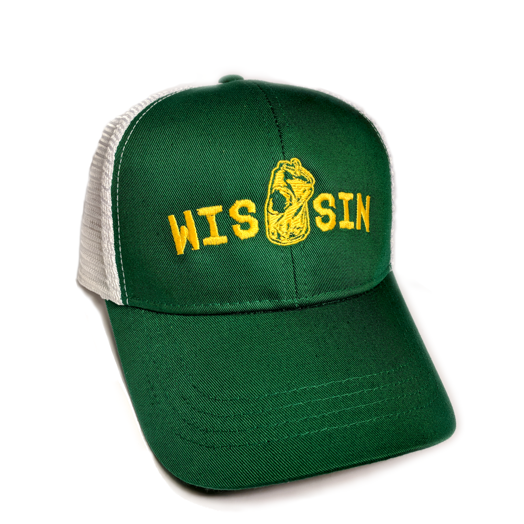 WIS[]SIN, Green, Gold, Snapback, Trucker Hat