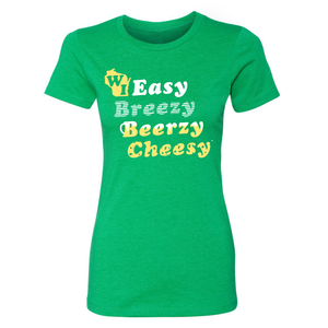 WI Easy Breezy Beerzy Cheesy, Green, Ladies', T-shirt