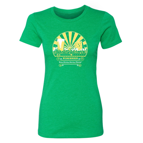 Wisconsin, Easy, Breezy, Beerzy, Cheesy, Ladies', Green, T-shirt
