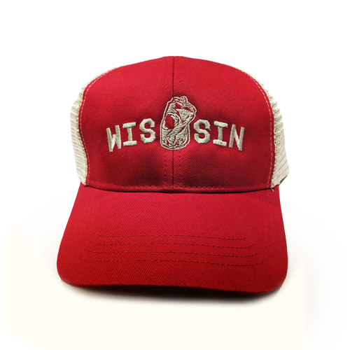 WIS[]SIN, Red, Snapback, Trucker Hat