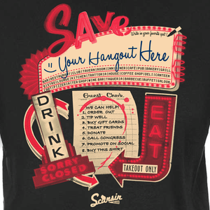 Save our bars and restaurants! We can help! Unisex T-shirt