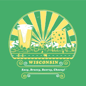 Wisconsin, Easy, Breezy, Beerzy, Cheesy, Ladies', T-shirt