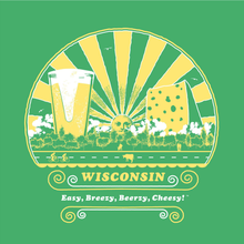 Load image into Gallery viewer, Wisconsin, Easy, Breezy, Beerzy, Cheesy, Unisex, T-shirt