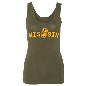 WIS[]SIN, Green & Gold, Ladies', Stretch, Tank