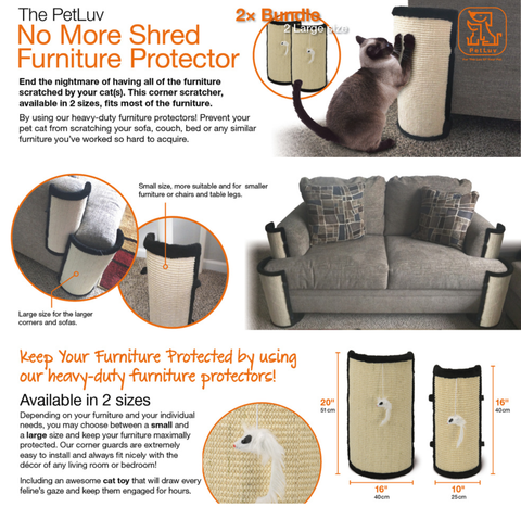 "Furniture - PetLuv ""Stop The SHREDDING Cat Scratch & Claw Furniture Protector for Chairs, Sofas, Beds. Corner Scratcher - Protects Upholstery from Clawing, Scratching, Shredding"