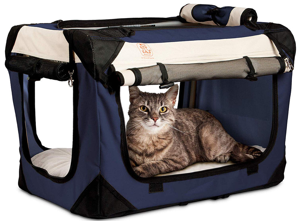 "PetLuv ""Happy Cat"" Premium Cat Carrier Soft Sided Pet Crate & Carrier Reduces Anxiety"