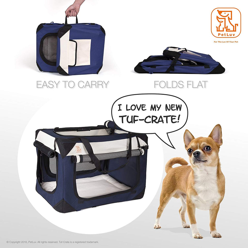 "PetLuv ""Tuf-Crate"" Premium Soft Dog Crate Foldable Top & Side Loading Pet Carrier & Travel Crate - Locking Zippers Shoulder Straps Seat Belt Lock Nap Pillow Reduces Anxiety"