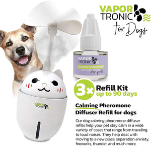 PetLuv Dog Calming Pheromone Diffuser 3 Pak Refill, Pet Behavior Support Refill for Dogs, Canine Calm Formula for Separation Anxiety, Stress Barking, Chewing, Shaking