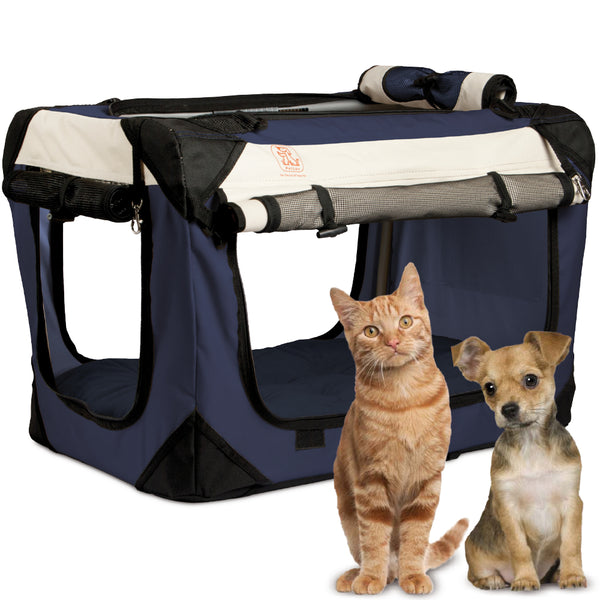 "PetLuv ""Happy Pet"" Cat & Dog Crate & Carrier Premium Soft Sided Foldable Top & Side Loading Pet Carrier Locking Zippers Shoulder Straps Seat Belt Lock Nap Pillow Reduces Anxiety"