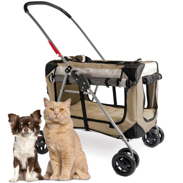 "PetLuv ""Happy Pet"" Cat & Dog 3-In-1 Stroller Crate & Carrier Premium Soft Sided Foldable Top & Side Loading Pet Carrier Locking Zippers Shoulder Straps Seat Belt Lock Nap Pillow Reduces Anxiety"