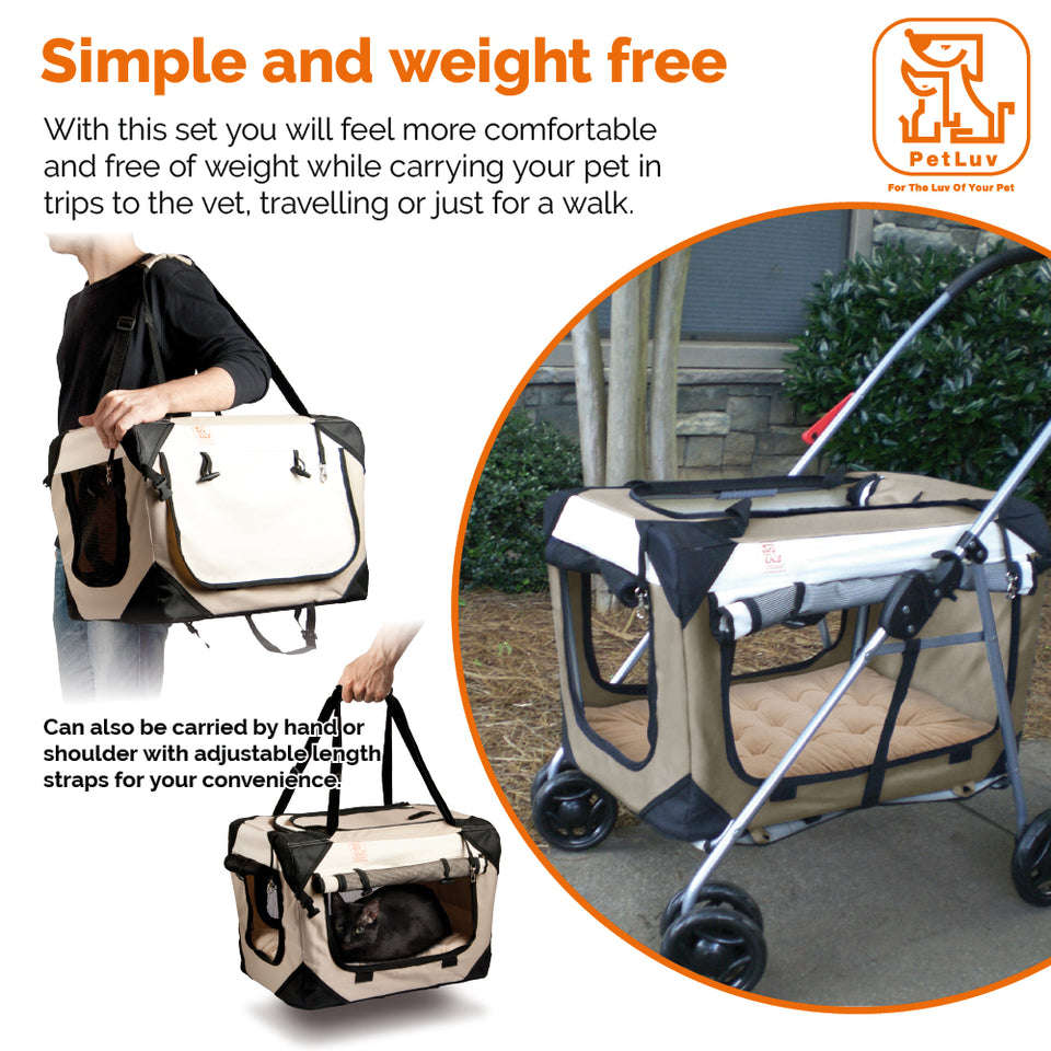 Pet Strollers Crate Cat Carrier - PetLuv Happy Cat