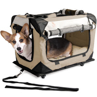 "PetLuv ""Happy Pet"" Cat & Dog ""Pull-A-Long"" Crate & Carrier Premium Soft Sided Foldable Top & Side Loading Pet Carrier Locking Zippers Shoulder Straps Seat Belt Lock Nap Pillow Reduces Anxiety"