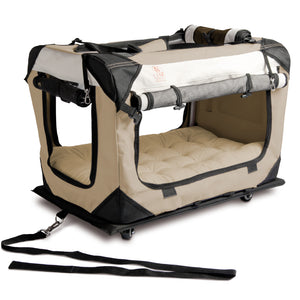 "PetLuv ""Pull-Along"" Rolling Cat & Dog Carrier & Travel Crate on Wheels Reduces Anxiety"