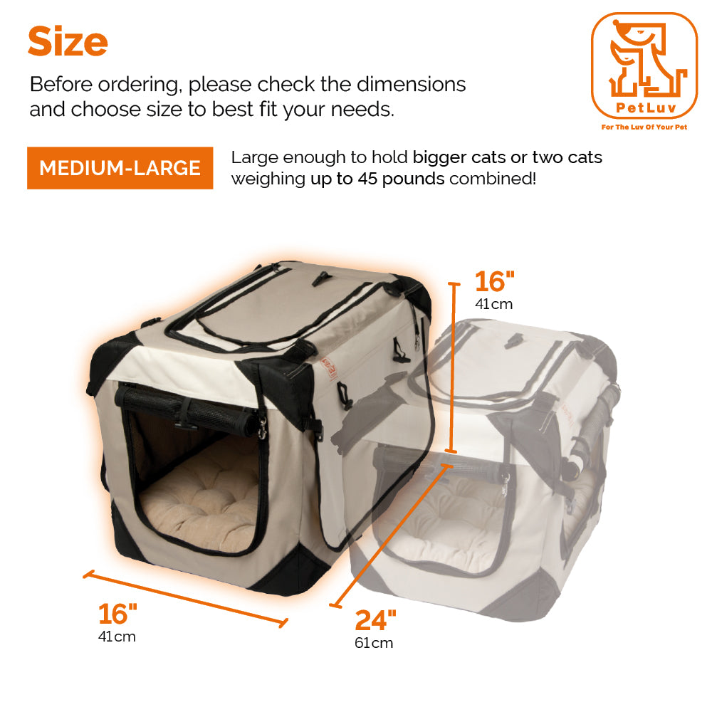 PetLuv Happy Cat Premium Cat Carrier Soft Sided Foldable Top /& Side Loading Pet Crate /& Carrier Locking Zippers Shoulder Straps Seat Belt Lock Plush Pillow Reduces Anxiety
