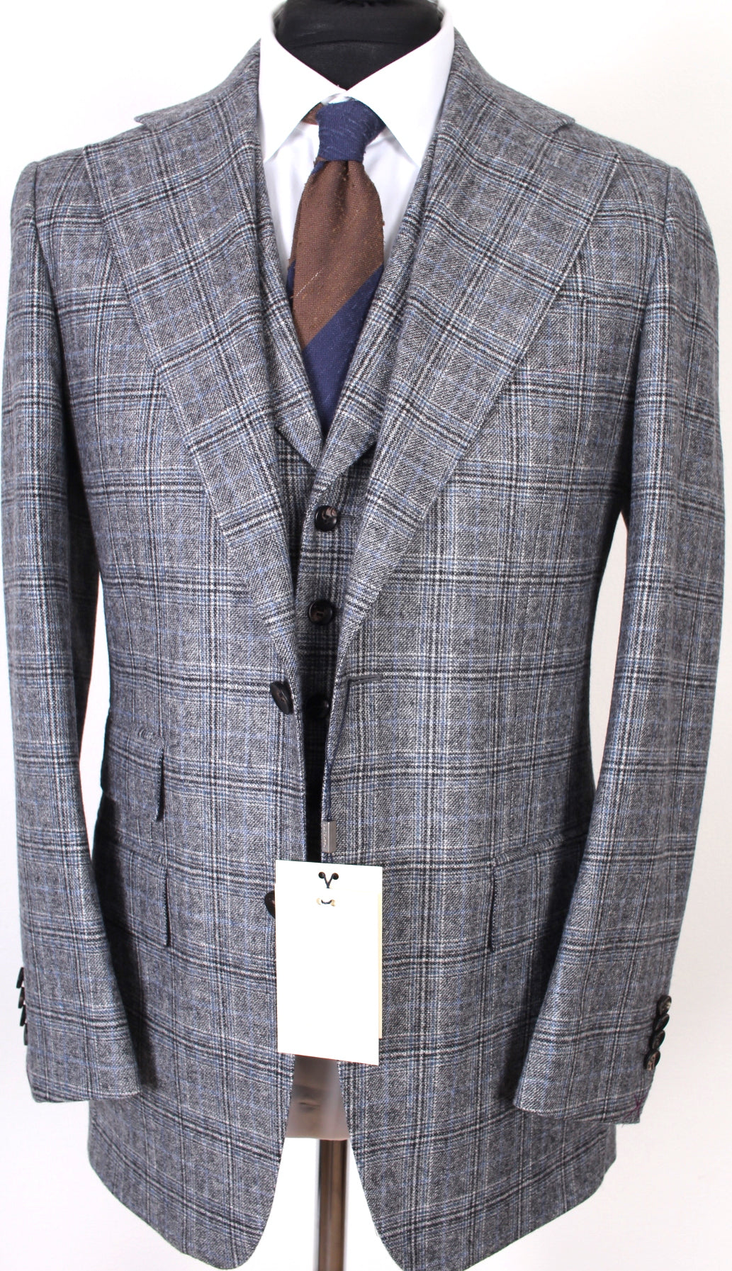 New Suitsupply Havana Gray Check Wide Lapel Wool/Cashmere 3 Piece Suit - Size 40R