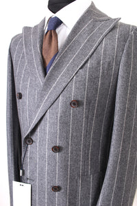 New Suitsupply Havana Gray Stripe 100% Wool Flannel DB Jacket - Size 40R and 42R