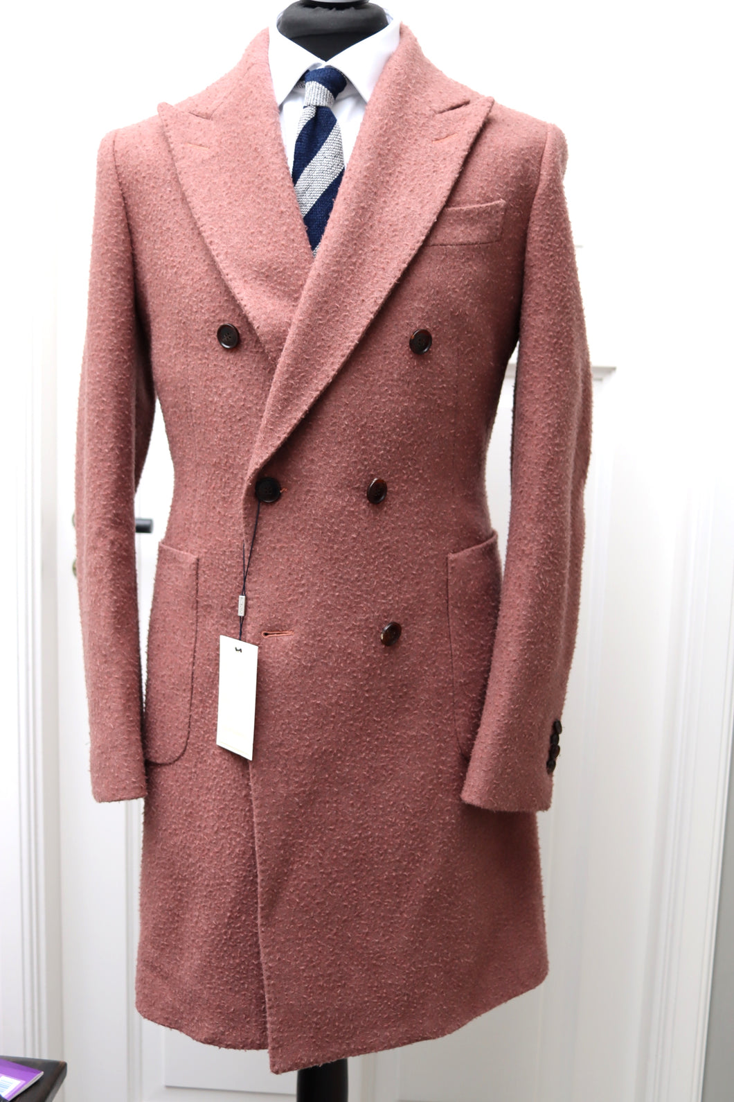 USED SUITSUPPLY LAVELLO Pink Wool/Cashmere DB Coat - Size 38R
