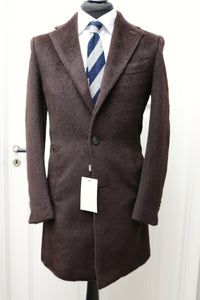 New SUITSUPPLY Vincenza Brown Furry Llama/Wool Overcoat - Size 36R and 38R