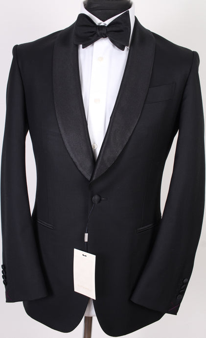 New Suitsupply Havana Black Shawl Lapel 100% Wool Super 150s Tuxedo Jacket - Size 36R