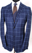 Load image into Gallery viewer, New Suitsupply Havana Navy Check Wool, Mulberry Silk and Linen Blazer - Size 38R