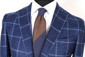 New Suitsupply Havana Navy Check Wool, Mulberry Silk and Linen Blazer - Size 38R