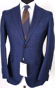 New Suitsupply La Spalla Navy Check Wool, Silk and Linen Suit - Size 36S