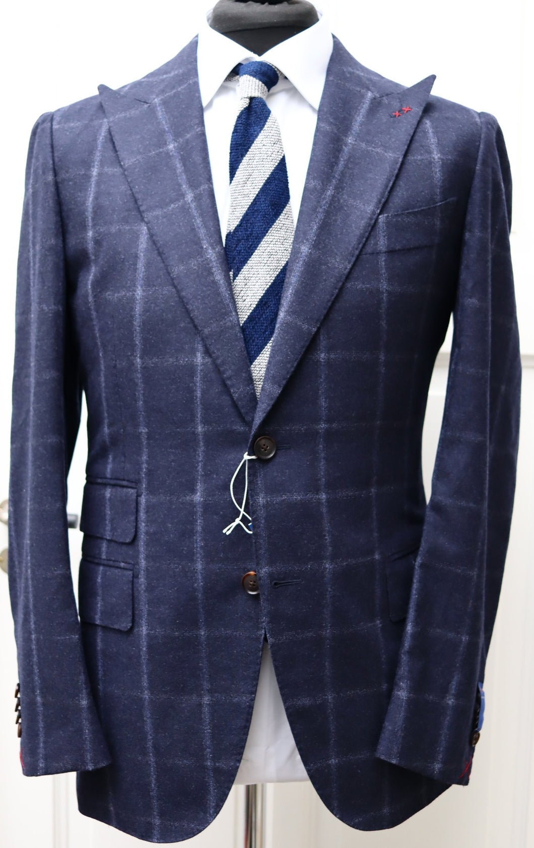 New With Tags SUITSUPPLY JORT Blue Check 100% Wool Super 130s Suit - Size 38R and 40R