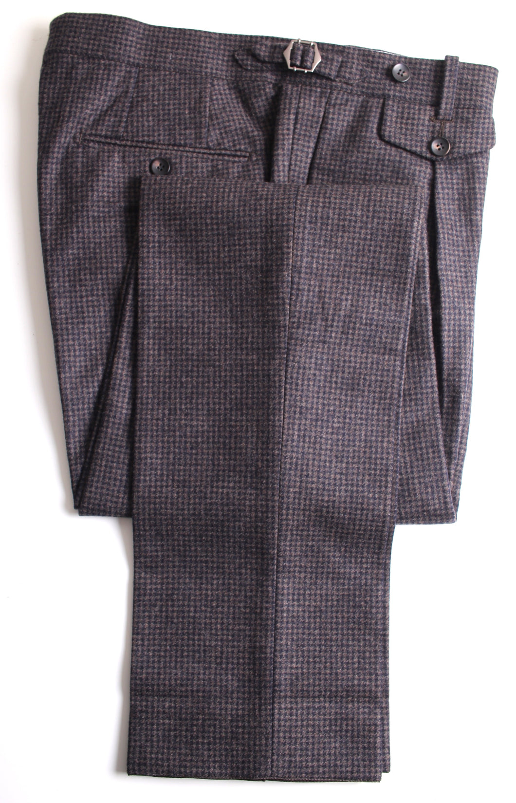 New Suitsupply Brentwood Brown Houndstooth 100% Wool Trousers - Size 38R (33.9 Waist)