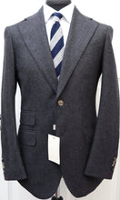 Load image into Gallery viewer, New Suitsupply HAVANA Dark Gray 100% Wool Flannel Wide Lapel Suit - Size 38S